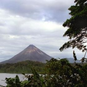 Volunteers visit Arenal volcano in their free time while volunteering in Costa Rica.